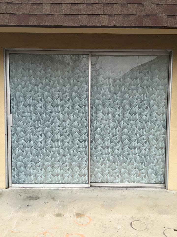 Custom Decorative Window Film custom decorative glass film job adds privacy and decor